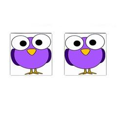 Bird Big Eyes Purple Cufflinks (square) by Alisyart