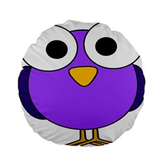 Bird Big Eyes Purple Standard 15  Premium Flano Round Cushions by Alisyart