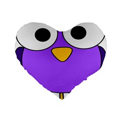 Bird Big Eyes Purple Standard 16  Premium Flano Heart Shape Cushions by Alisyart