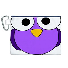 Bird Big Eyes Purple Canvas Cosmetic Bag (xl) by Alisyart