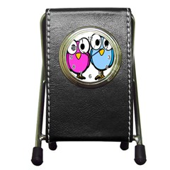 Bird Big Eyes Pink Blue Pen Holder Desk Clocks by Alisyart