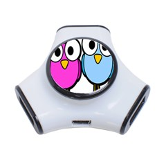 Bird Big Eyes Pink Blue 3 Port Usb Hub by Alisyart