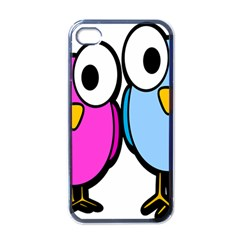 Bird Big Eyes Pink Blue Apple Iphone 4 Case (black) by Alisyart