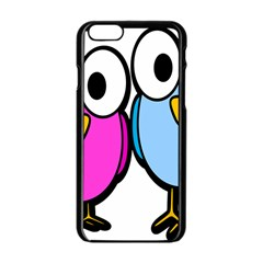 Bird Big Eyes Pink Blue Apple Iphone 6/6s Black Enamel Case by Alisyart
