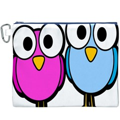 Bird Big Eyes Pink Blue Canvas Cosmetic Bag (xxxl) by Alisyart