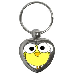 Bird Big Eyes Yellow Green Key Chains (heart)  by Alisyart