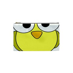 Bird Big Eyes Yellow Green Cosmetic Bag (small)  by Alisyart