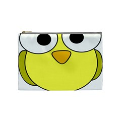 Bird Big Eyes Yellow Green Cosmetic Bag (medium)  by Alisyart
