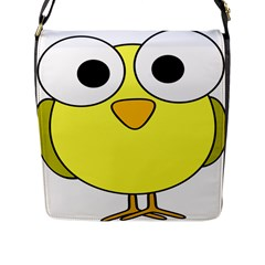 Bird Big Eyes Yellow Green Flap Messenger Bag (l)  by Alisyart