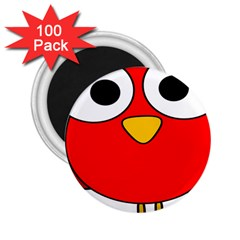 Bird Big Eyes Red 2 25  Magnets (100 Pack)  by Alisyart