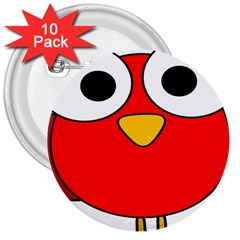 Bird Big Eyes Red 3  Buttons (10 Pack)  by Alisyart
