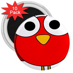 Bird Big Eyes Red 3  Magnets (10 Pack)  by Alisyart