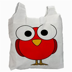 Bird Big Eyes Red Recycle Bag (one Side) by Alisyart
