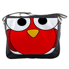 Bird Big Eyes Red Messenger Bags by Alisyart
