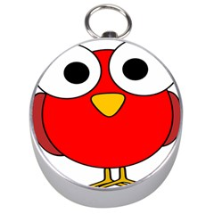Bird Big Eyes Red Silver Compasses by Alisyart