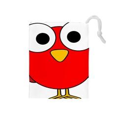 Bird Big Eyes Red Drawstring Pouches (medium)  by Alisyart