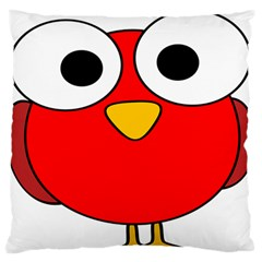 Bird Big Eyes Red Large Flano Cushion Case (two Sides) by Alisyart
