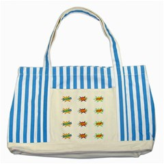 Boom Pow Pop Sign Striped Blue Tote Bag by Alisyart