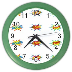 Boom Pow Pop Sign Color Wall Clocks by Alisyart