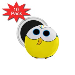 Bird Big Eyes Yellow 1 75  Magnets (10 Pack)  by Alisyart