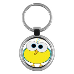 Bird Big Eyes Yellow Key Chains (round)  by Alisyart