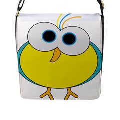 Bird Big Eyes Yellow Flap Messenger Bag (l)  by Alisyart