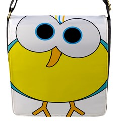 Bird Big Eyes Yellow Flap Messenger Bag (s) by Alisyart
