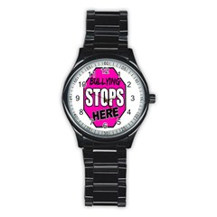 Bullying Stops Here Pink Sign Stainless Steel Round Watch