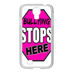 Bullying Stops Here Pink Sign Samsung Galaxy S4 I9500/ I9505 Case (white) by Alisyart