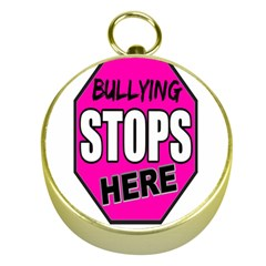 Bullying Stops Here Pink Sign Gold Compasses by Alisyart