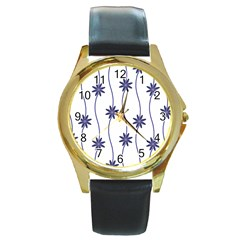 Geometric Flower Seamless Repeating Pattern With Curvy Lines Round Gold Metal Watch by Simbadda