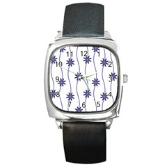 Geometric Flower Seamless Repeating Pattern With Curvy Lines Square Metal Watch by Simbadda