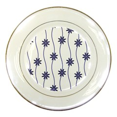 Geometric Flower Seamless Repeating Pattern With Curvy Lines Porcelain Plates by Simbadda