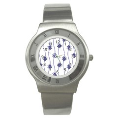 Geometric Flower Seamless Repeating Pattern With Curvy Lines Stainless Steel Watch by Simbadda
