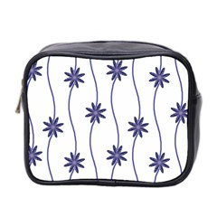 Geometric Flower Seamless Repeating Pattern With Curvy Lines Mini Toiletries Bag 2 Side by Simbadda