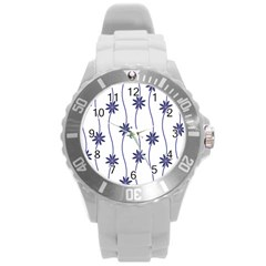 Geometric Flower Seamless Repeating Pattern With Curvy Lines Round Plastic Sport Watch (l) by Simbadda