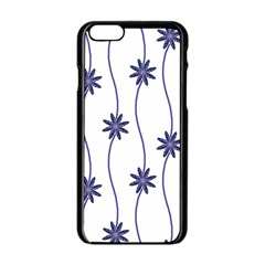 Geometric Flower Seamless Repeating Pattern With Curvy Lines Apple Iphone 6/6s Black Enamel Case by Simbadda
