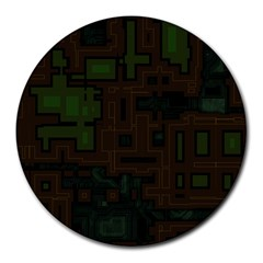 Circuit Board A Completely Seamless Background Design Round Mousepads by Simbadda