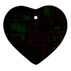 Circuit Board A Completely Seamless Background Design Ornament (heart) by Simbadda