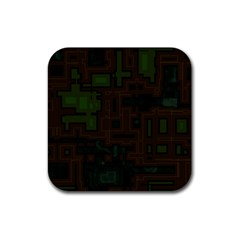 Circuit Board A Completely Seamless Background Design Rubber Coaster (square)  by Simbadda