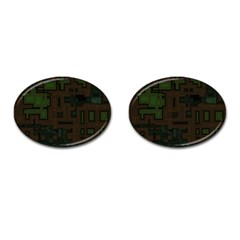 Circuit Board A Completely Seamless Background Design Cufflinks (oval) by Simbadda