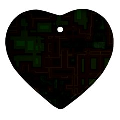 Circuit Board A Completely Seamless Background Design Heart Ornament (two Sides) by Simbadda