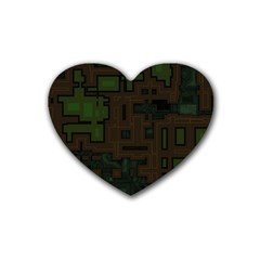 Circuit Board A Completely Seamless Background Design Rubber Coaster (heart)  by Simbadda