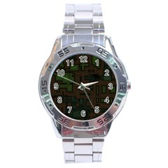 Circuit Board A Completely Seamless Background Design Stainless Steel Analogue Watch by Simbadda