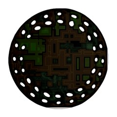 Circuit Board A Completely Seamless Background Design Round Filigree Ornament (two Sides) by Simbadda