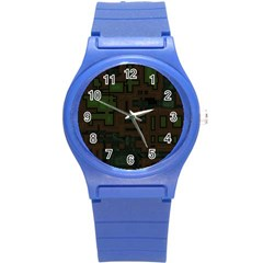 Circuit Board A Completely Seamless Background Design Round Plastic Sport Watch (s) by Simbadda