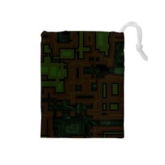 Circuit Board A Completely Seamless Background Design Drawstring Pouches (medium)  by Simbadda