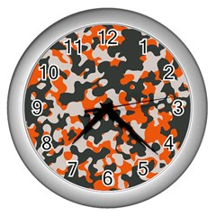 Camouflage Texture Patterns Wall Clocks (silver)  by Simbadda