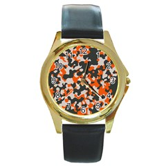 Camouflage Texture Patterns Round Gold Metal Watch by Simbadda