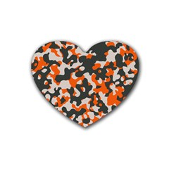 Camouflage Texture Patterns Heart Coaster (4 Pack)  by Simbadda